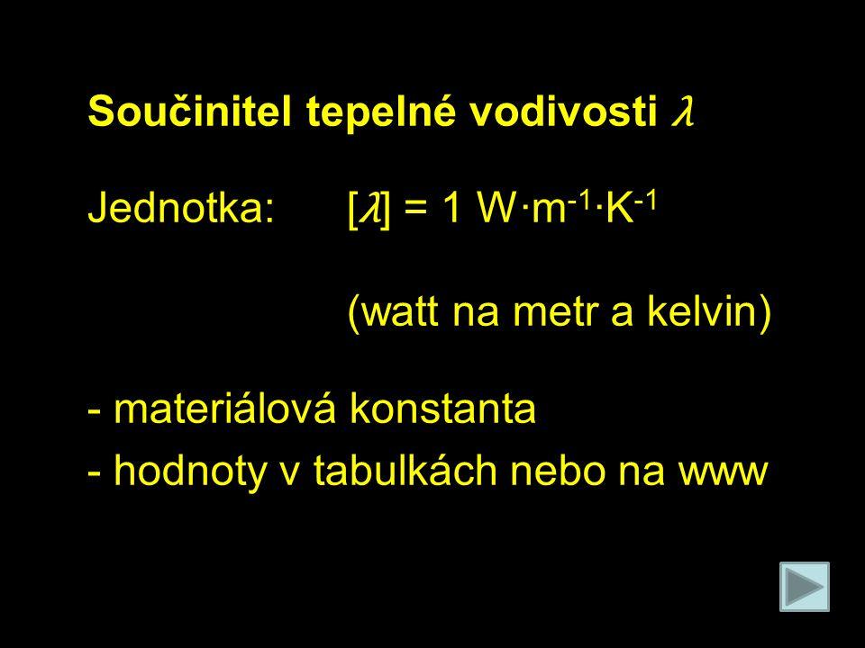 Součinitel tepelné vodivosti λ Jednotka:[ λ ] = 1 W·m -1 ·K -1 (watt na metr a kelvin) - materiálová konstanta - hodnoty v tabulkách nebo na www