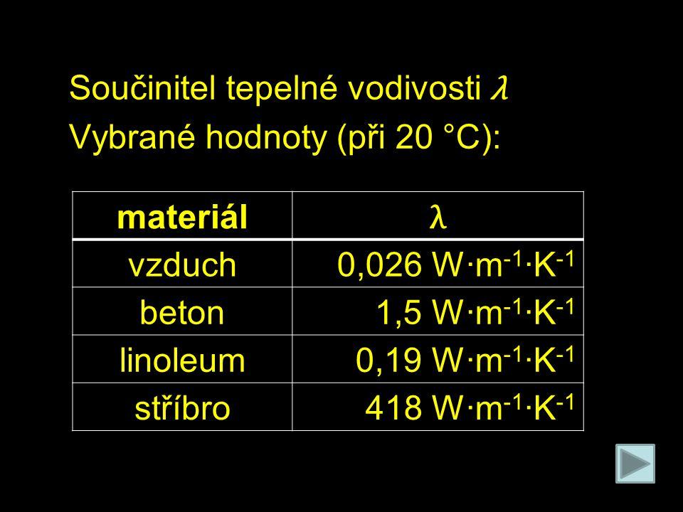 Součinitel tepelné vodivosti λ Vybrané hodnoty (při 20 °C): materiál λ vzduch0,026 W·m -1 ·K -1 beton1,5 W·m -1 ·K -1 linoleum0,19 W·m -1 ·K -1 stříbr