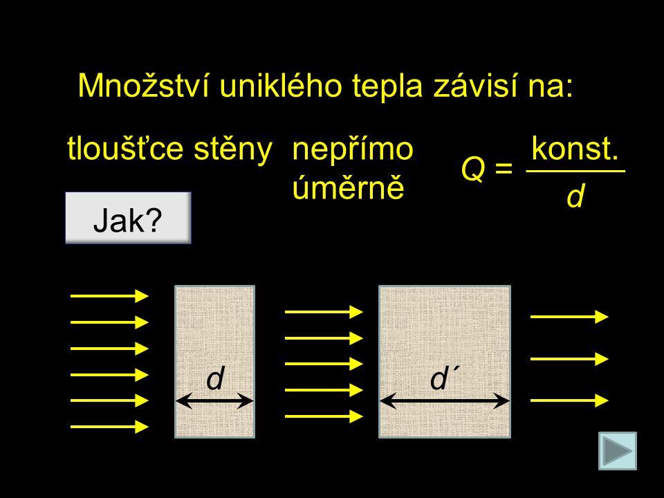 Množství uniklého tepla závisí na: ploše stěny Jak? přímo úměrně Q = konst∙S S S´