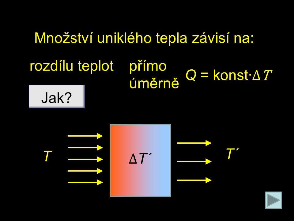 Množství uniklého tepla závisí na: rozdílu teplot Jak? přímo úměrně Q = konst∙ ΔT T T´ Δ T´