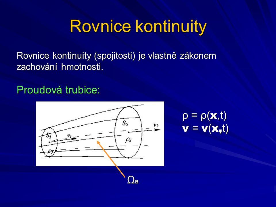 Rovnice kontinuity Rovnice kontinuity (spojitosti) je vlastně zákonem zachování hmotnosti. Proudová trubice: ρ = ρ( x,t) v = v ( x, t) Ω B