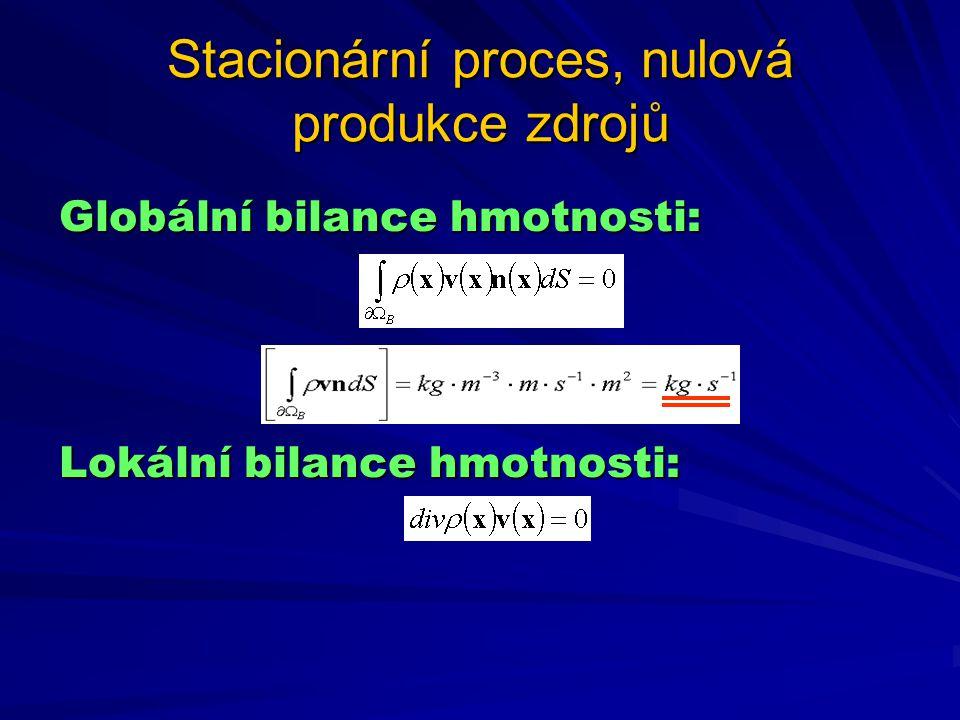 Stacionární proces, nulová produkce zdrojů Globální bilance hmotnosti: Lokální bilance hmotnosti: