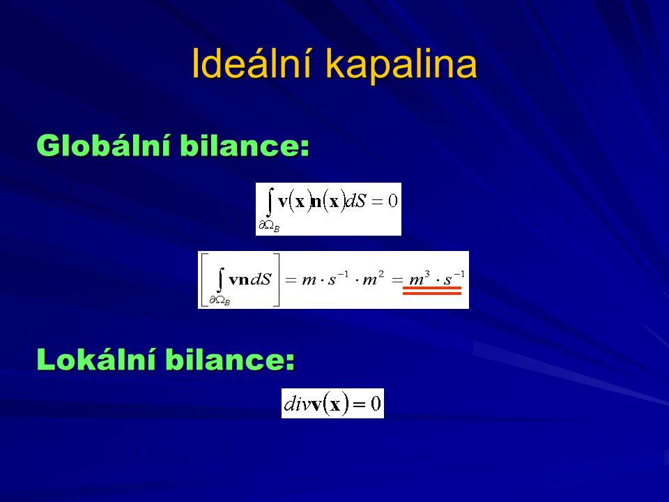 Ideální kapalina Globální bilance: Lokální bilance: