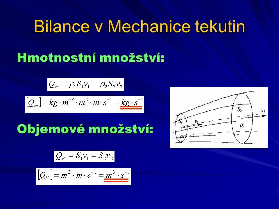 Bilance v Mechanice tekutin Hmotnostní množství: Objemové množství:
