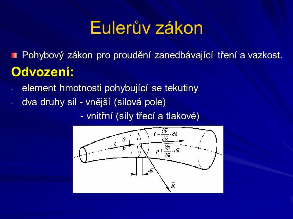Eulerův zákon Pohybový zákon pro proudění zanedbávající tření a vazkost. Odvození: - element hmotnosti pohybující se tekutiny - dva druhy sil - vnější