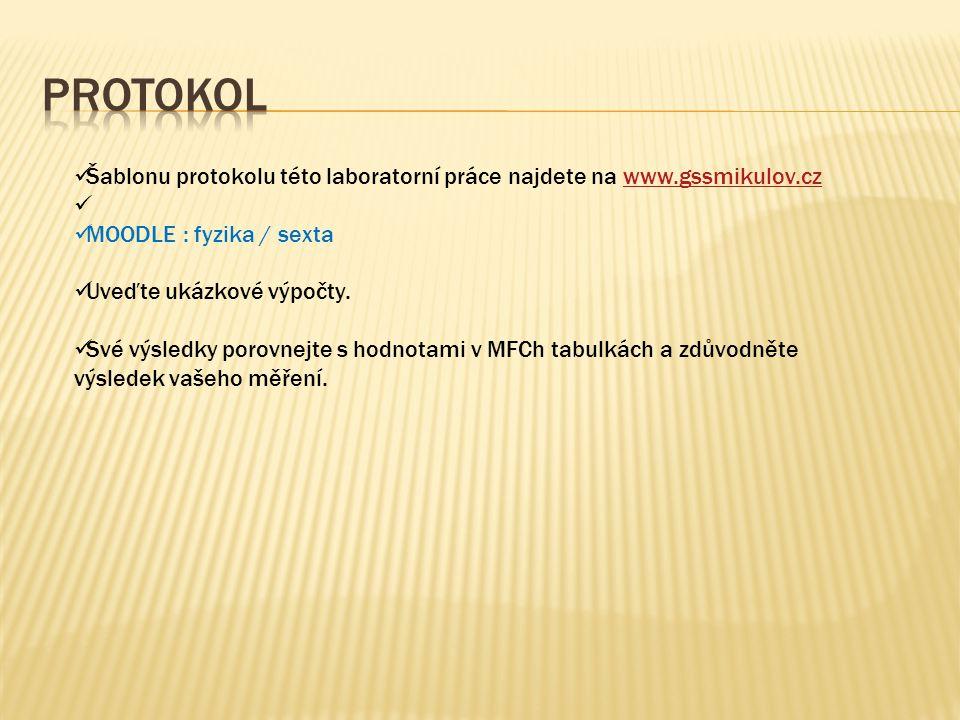 Šablonu protokolu této laboratorní práce najdete na www.gssmikulov.czwww.gssmikulov.cz MOODLE : fyzika / sexta Uveďte ukázkové výpočty. Své výsledky p