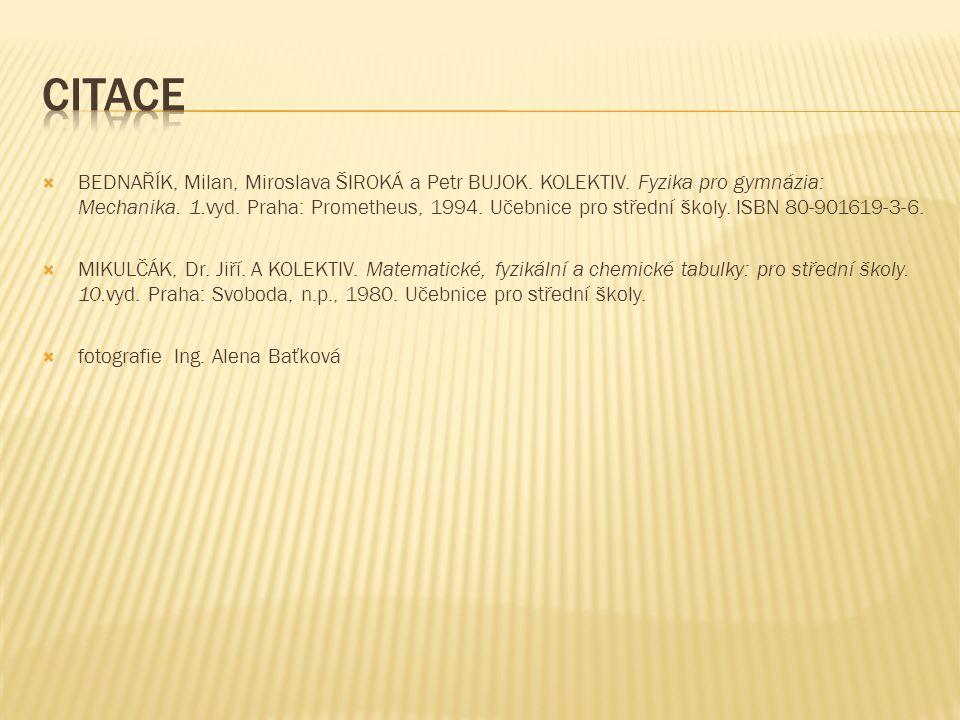  BEDNAŘÍK, Milan, Miroslava ŠIROKÁ a Petr BUJOK. KOLEKTIV. Fyzika pro gymnázia: Mechanika. 1.vyd. Praha: Prometheus, 1994. Učebnice pro střední školy