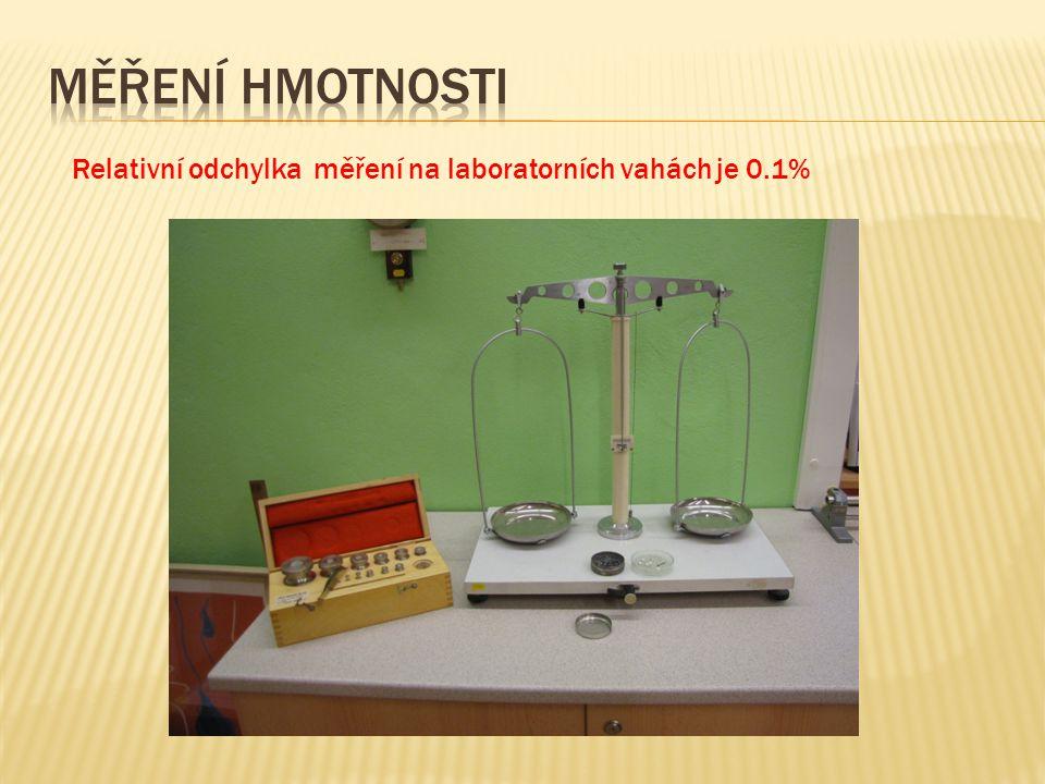 Relativní odchylka měření na laboratorních vahách je 0.1%