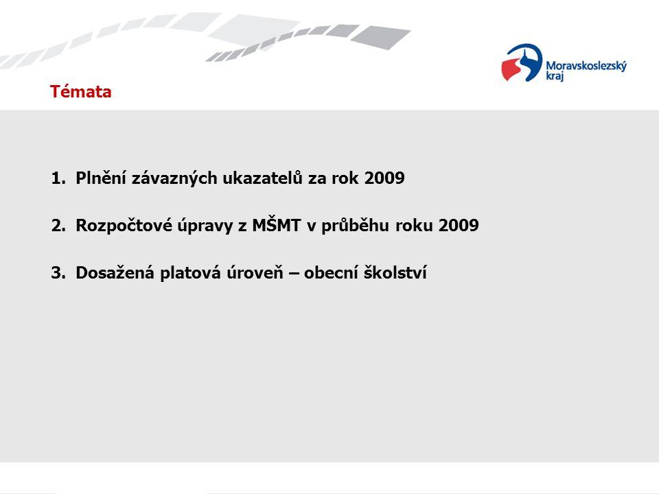 Témata 1.Plnění závazných ukazatelů za rok 2009 2.Rozpočtové úpravy z MŠMT v průběhu roku 2009 3.Dosažená platová úroveň – obecní školství