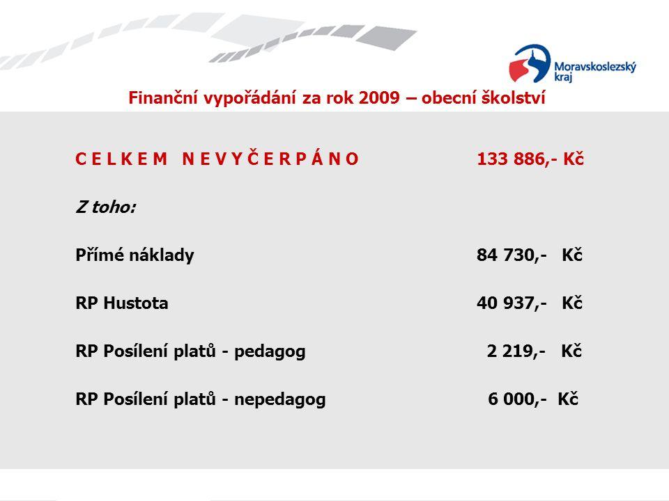2.Rozpočtové úpravy z MŠMT v průběhu roku 2009 NIV celkem: ÚZ 33 353 Přímé náklady - 26 927 tis.