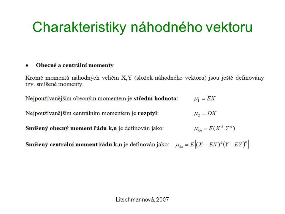 Litschmannová, 2007 Charakteristiky náhodného vektoru