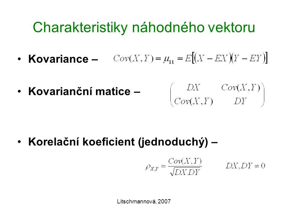 Litschmannová, 2007 Charakteristiky náhodného vektoru Kovariance – Kovarianční matice – Korelační koeficient (jednoduchý) –