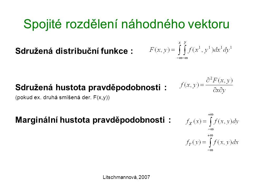 Litschmannová, 2007 Spojité rozdělení náhodného vektoru Sdružená distribuční funkce : Sdružená hustota pravděpodobnosti : (pokud ex.