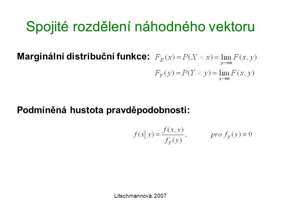 Litschmannová, 2007 Spojité rozdělení náhodného vektoru Marginální distribuční funkce: Podmíněná hustota pravděpodobnosti: