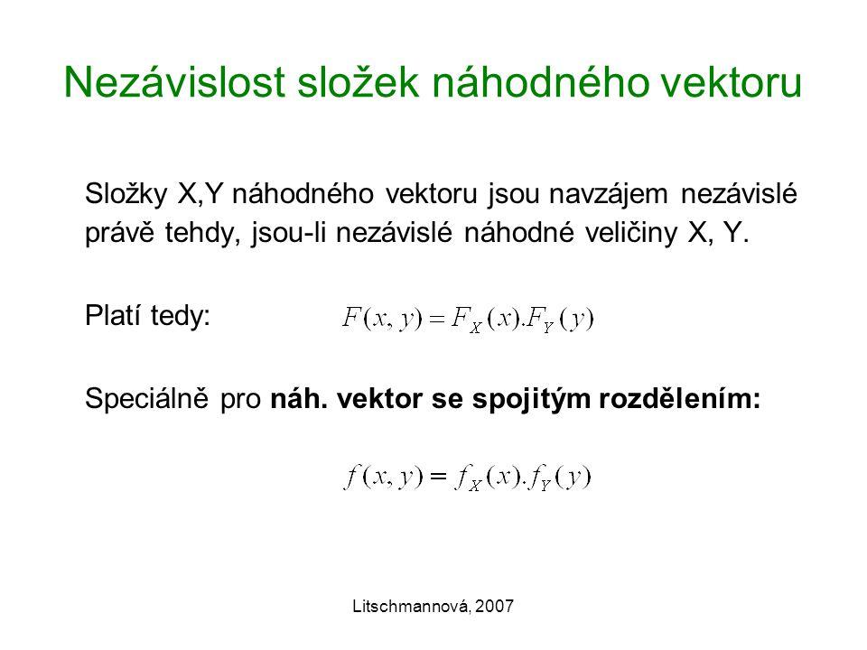 Litschmannová, 2007 Nezávislost složek náhodného vektoru Složky X,Y náhodného vektoru jsou navzájem nezávislé právě tehdy, jsou-li nezávislé náhodné veličiny X, Y.