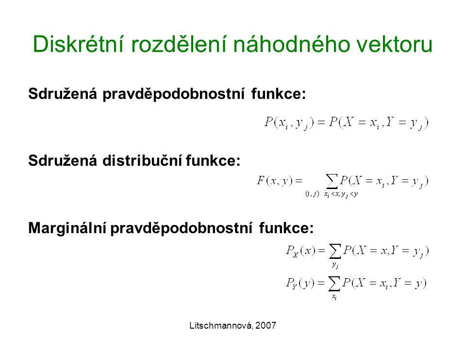 Litschmannová, 2007 Diskrétní rozdělení náhodného vektoru Sdružená pravděpodobnostní funkce: Sdružená distribuční funkce: Marginální pravděpodobnostní funkce: