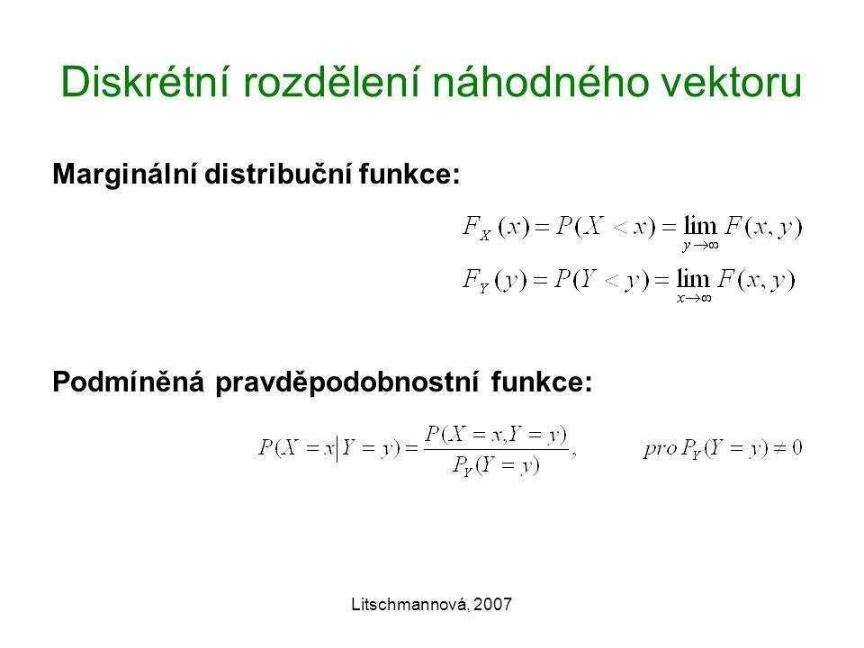Litschmannová, 2007 Diskrétní rozdělení náhodného vektoru Marginální distribuční funkce: Podmíněná pravděpodobnostní funkce: