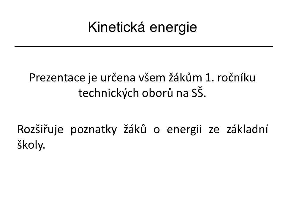 Kinetická energie Prezentace je určena všem žákům 1.