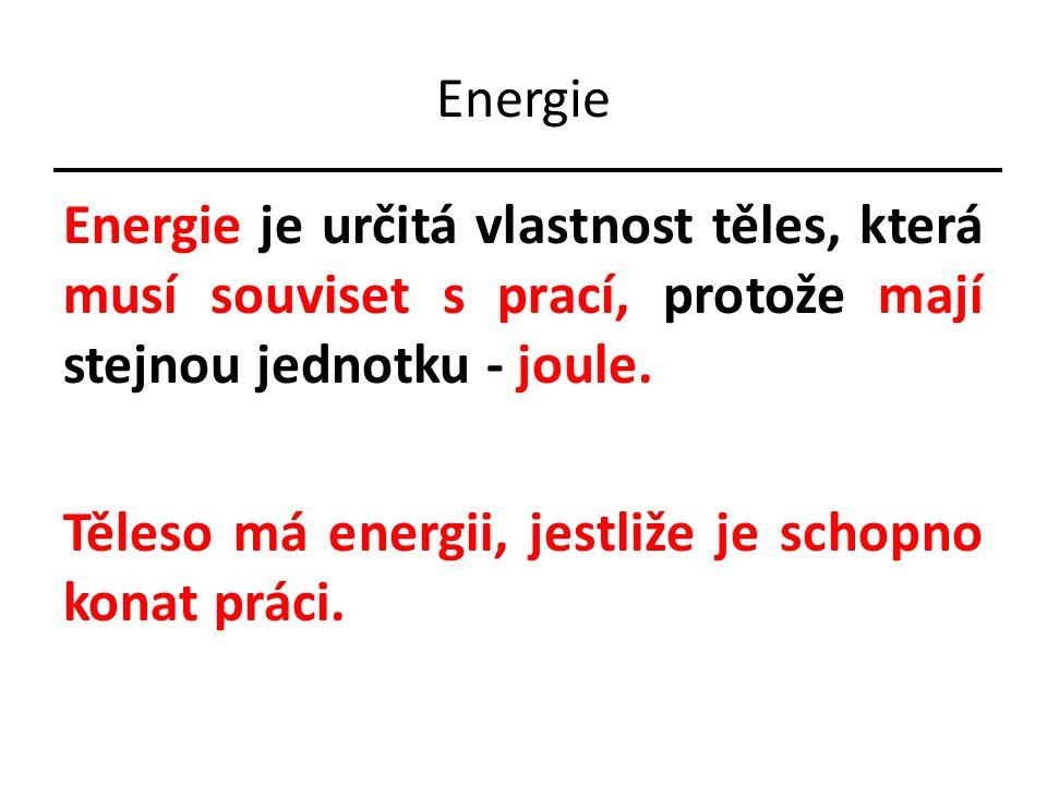 Energie Energie je určitá vlastnost těles, která musí souviset s prací, protože mají stejnou jednotku - joule.