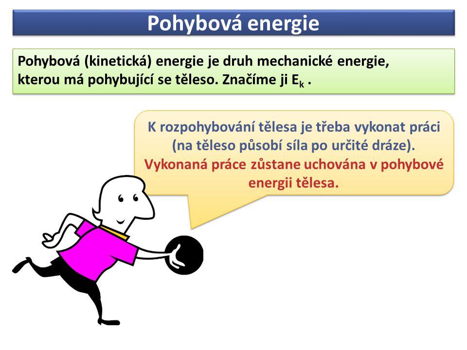 Pohybová energie Pohybová energie závisí na:  Hmotnosti tělesa (přímoúměrně)  Rychlosti pohybu tělesa (zvětší-li se rychlost tělesa 2krát, pohybová energie se zvětší 4krát zvětší-li se rychlost tělesa 3krát, pohybová energie se zvětší 9krát zvětší-li se rychlost tělesa 5krát, pohybová energie se zvětší 25krát atp.) Pohybová energie závisí na:  Hmotnosti tělesa (přímoúměrně)  Rychlosti pohybu tělesa (zvětší-li se rychlost tělesa 2krát, pohybová energie se zvětší 4krát zvětší-li se rychlost tělesa 3krát, pohybová energie se zvětší 9krát zvětší-li se rychlost tělesa 5krát, pohybová energie se zvětší 25krát atp.) Pohybová energie joule (J) Pohybová energie joule (J) Hmotnost kilogram (kg) Hmotnost kilogram (kg) rychlost metr za sekundu (m/s) rychlost metr za sekundu (m/s)