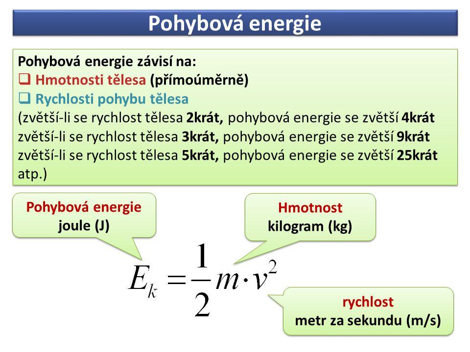 Pohybová energie Pohybová energie závisí na:  Hmotnosti tělesa (přímoúměrně)  Rychlosti pohybu tělesa (zvětší-li se rychlost tělesa 2krát, pohybová