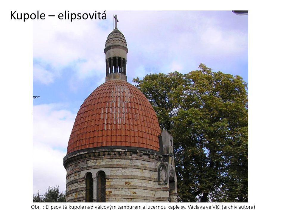 Kupole – elipsovitá Obr. : Elipsovitá kupole nad válcovým tamburem a lucernou kaple sv. Václava ve Vlčí (archiv autora)