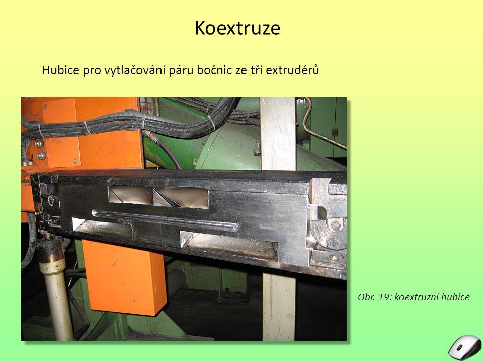 Koextruze Hubice pro vytlačování páru bočnic ze tří extrudérů Obr. 19: koextruzní hubice
