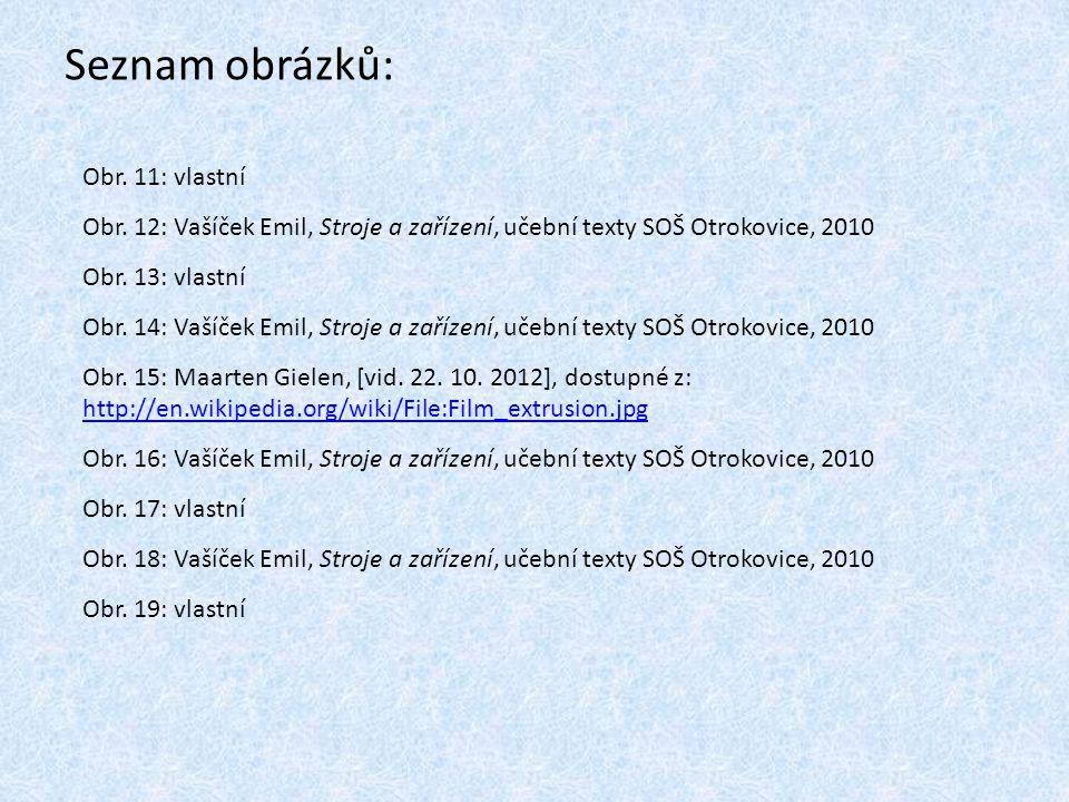 Seznam obrázků: Obr. 11: vlastní Obr. 12: Vašíček Emil, Stroje a zařízení, učební texty SOŠ Otrokovice, 2010 Obr. 13: vlastní Obr. 14: Vašíček Emil, S
