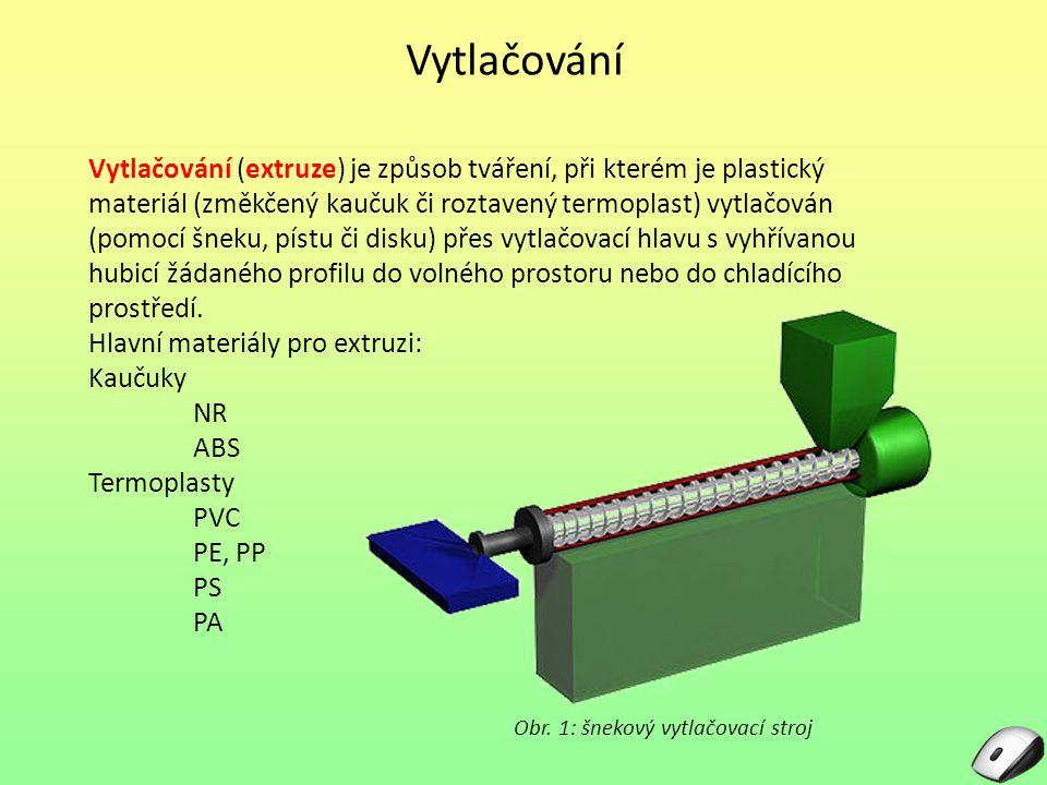 Vytlačování Vytlačování (extruze) je způsob tváření, při kterém je plastický materiál (změkčený kaučuk či roztavený termoplast) vytlačován (pomocí šne