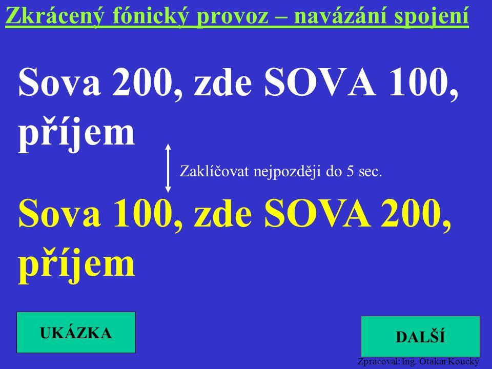 Zpracoval: Ing. Otakar Koucký Správně Spojím rádio-čekejte (NTS) Spojeno rádio-hovořte (NTS) Spojím – čekejte (VTS) Spojeno – hovořte (VTS) Zkrácený f