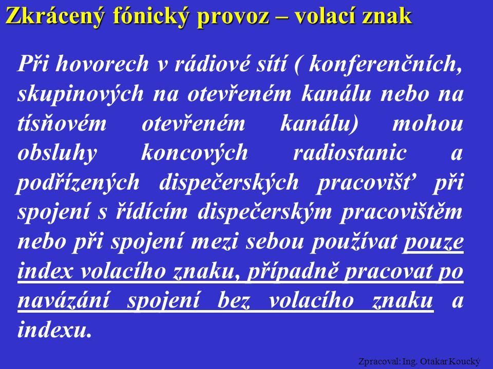 Zpracoval: Ing. Otakar Koucký Zkrácený fónický provoz – obsluha Obsluhu rádiových stanic a dispečerských pracovišť lze provádět až po absolvování Odbo
