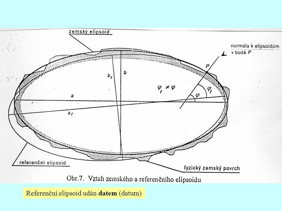 Referenční elipsoid udán datem (datum)