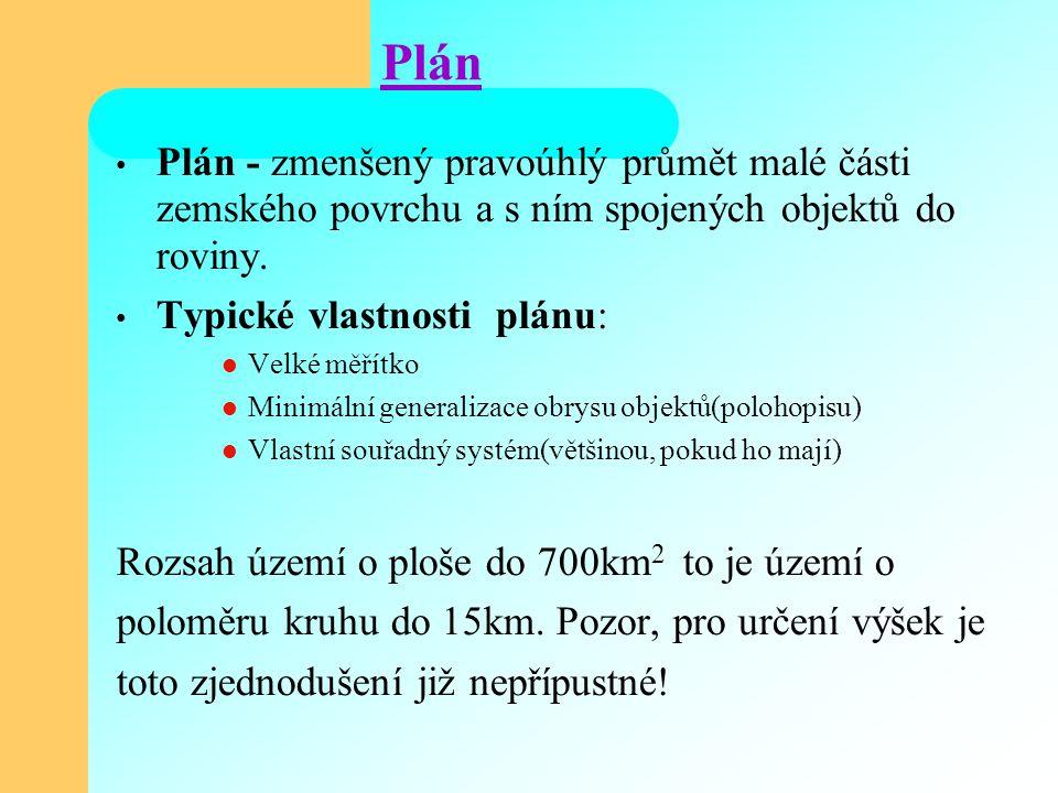 Plán Plán - zmenšený pravoúhlý průmět malé části zemského povrchu a s ním spojených objektů do roviny. Typické vlastnosti plánu: Velké měřítko Minimál