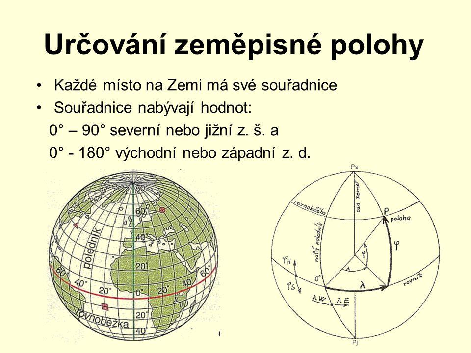 Určování zeměpisné polohy Každé místo na Zemi má své souřadnice Souřadnice nabývají hodnot: 0° – 90° severní nebo jižní z.