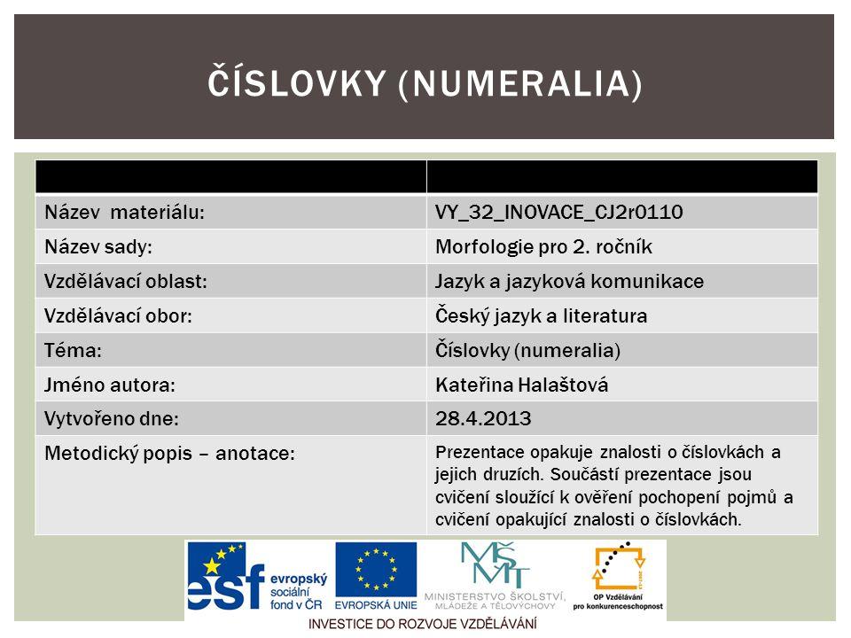 Název materiálu:VY_32_INOVACE_CJ2r0110 Název sady:Morfologie pro 2.