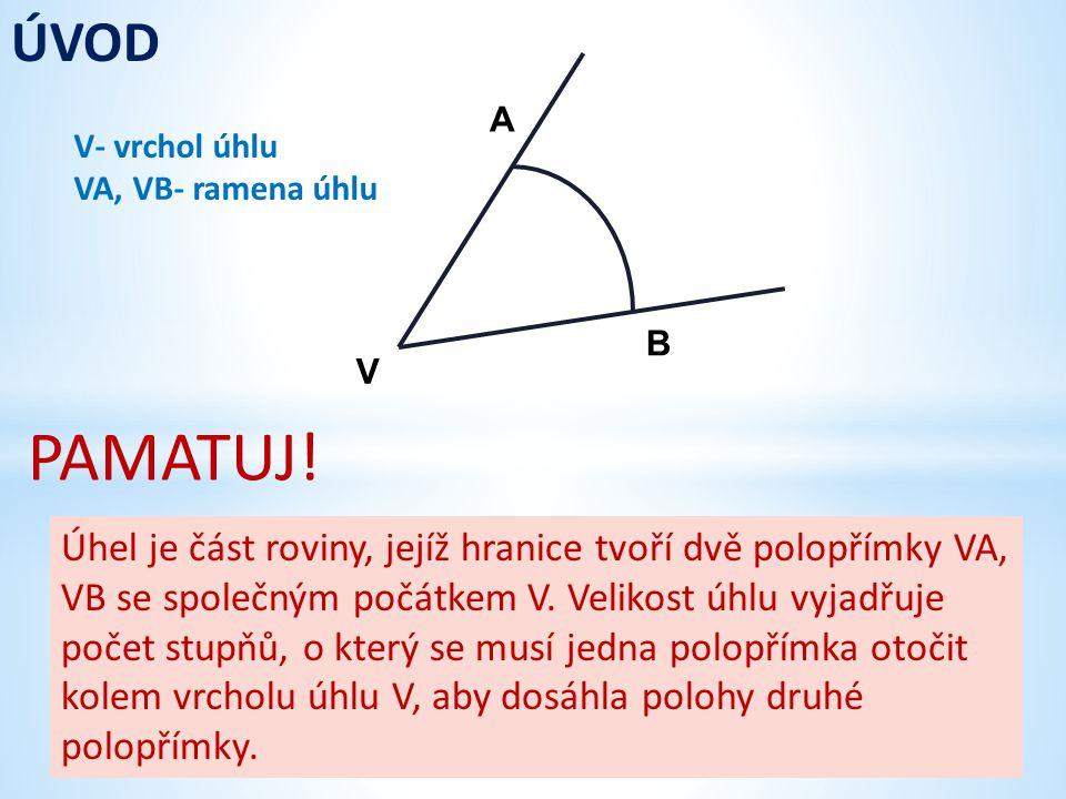 V A B Úhel je část roviny, jejíž hranice tvoří dvě polopřímky VA, VB se společným počátkem V. Velikost úhlu vyjadřuje počet stupňů, o který se musí je