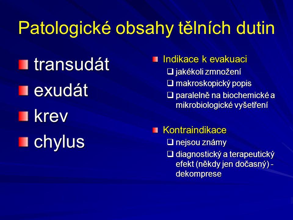 Patologické obsahy tělních dutin transudát transudát exudát exudát krev krev chylus chylus Indikace k evakuaci  jakékoli zmnožení  makroskopický pop