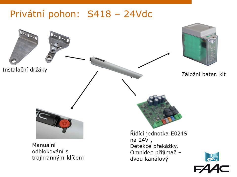 Manuální odblokování s trojhranným klíčem Privátní pohon: S418 – 24Vdc Záložní bater.