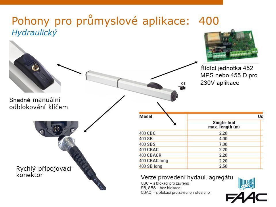 Pohony pro průmyslové aplikace: 400 Hydraulický Rychlý připojovací konektor Snadné manuální odblokování klíčem Řídící jednotka 452 MPS nebo 455 D pro 230V aplikace Verze provedení hydaul.
