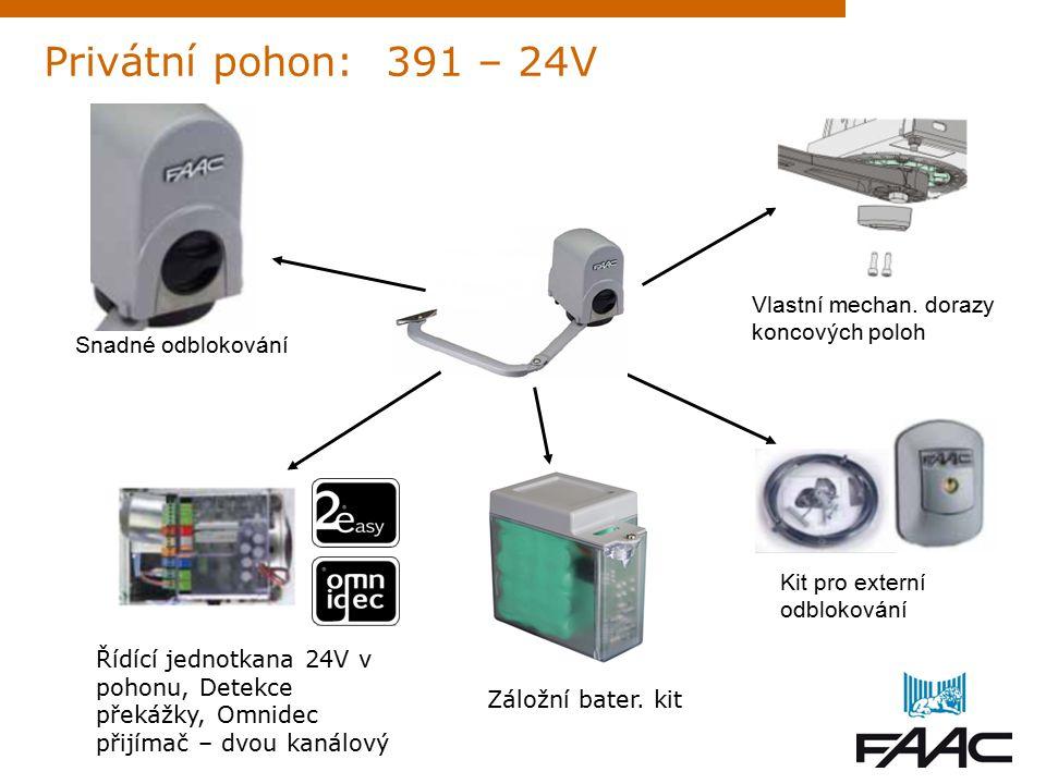 Privátní pohon: 391 – 24V Snadné odblokování Řídící jednotkana 24V v pohonu, Detekce překážky, Omnidec přijímač – dvou kanálový Záložní bater.