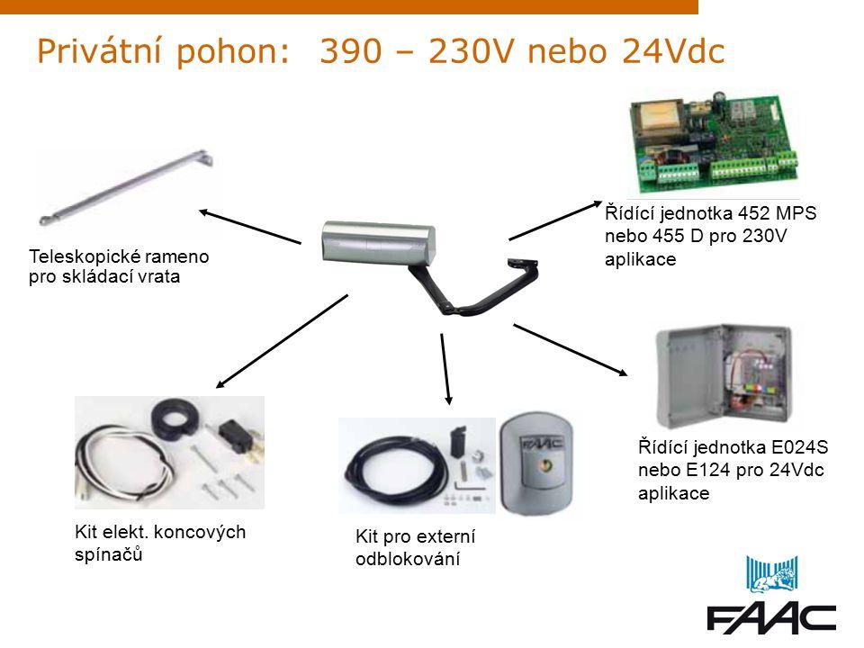 Privátní pohon: 412 – 230V nejprodávanější Manuální odblokování s šestihranným klíčem Řídící jednotka 452 MPS nebo 455 D pro 230V aplikace