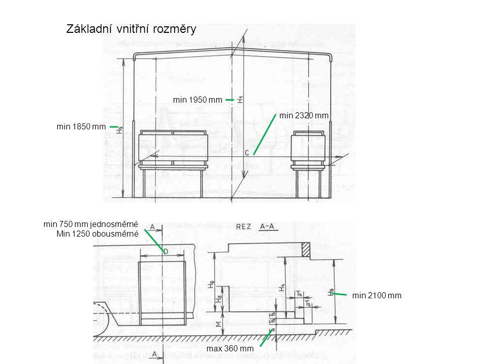 Základní vnitřní rozměry min 2320 mm min 1850 mm min 1950 mm min 750 mm jednosměrné Min 1250 obousměrné min 2100 mm max 360 mm