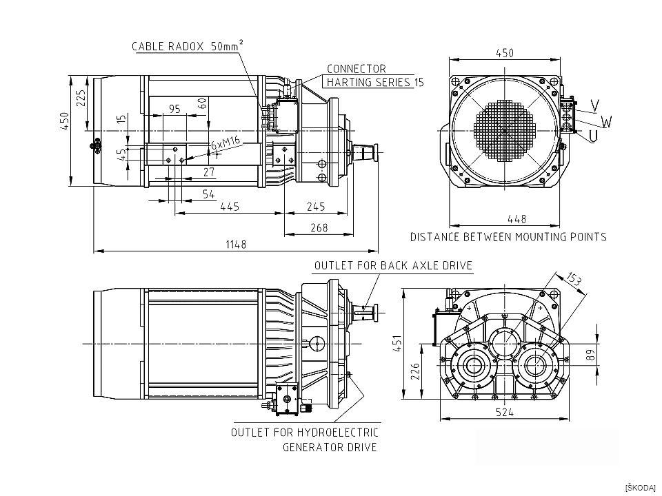 DC trakční motor pro trolejbus ALS 3046 FnM Výkon 180 kW Jmen.