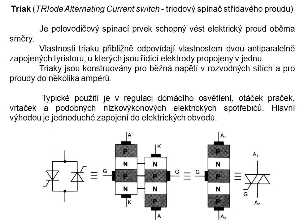 Triak (TRIode Alternating Current switch - triodový spínač střídavého proudu) Je polovodičový spínací prvek schopný vést elektrický proud oběma směry.