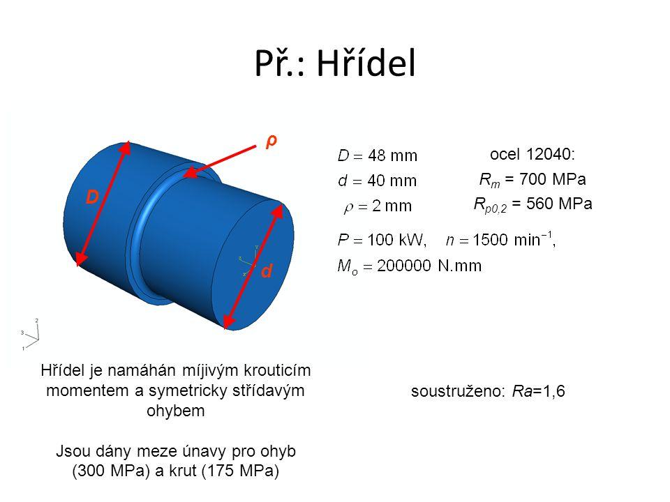 Př.: Hřídel ρ D d ocel 12040: R m = 700 MPa R p0,2 = 560 MPa Hřídel je namáhán míjivým krouticím momentem a symetricky střídavým ohybem Jsou dány meze únavy pro ohyb (300 MPa) a krut (175 MPa) soustruženo: Ra=1,6