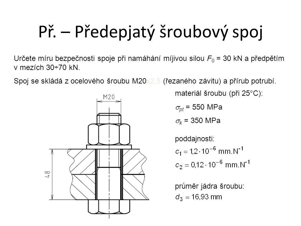 Určete míru bezpečnosti spoje při namáhání míjivou silou F 0 = 30 kN a předpětím v mezích 30÷70 kN. Spoj se skládá z ocelového šroubu M20x2,5 (řezanéh