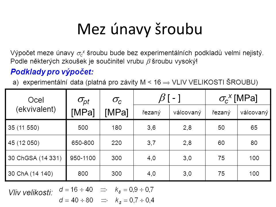 Výpočet meze únavy  c x šroubu bude bez experimentálních podkladů velmi nejistý. Podle některých zkoušek je součinitel vrubu  šroubu vysoký! Podklad