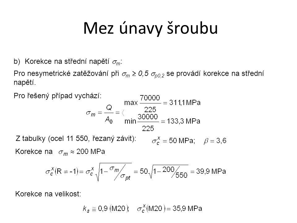 b)Korekce na střední napětí  m : Pro nesymetrické zatěžování při  m  0,5  p0,2 se provádí korekce na střední napětí. Pro řešený případ vychází: Z
