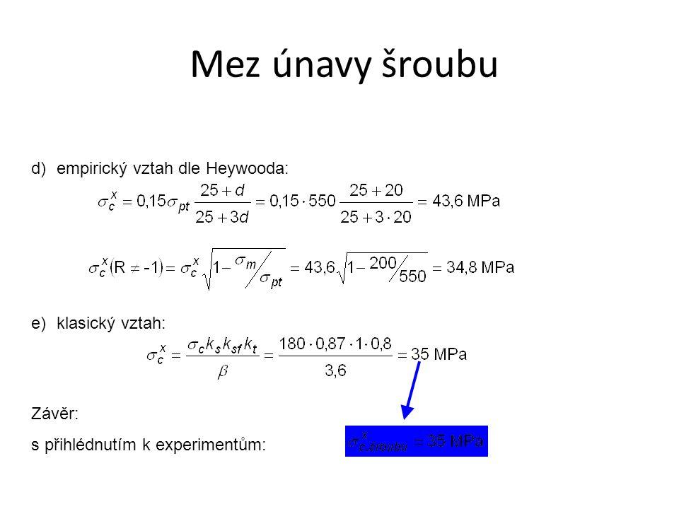 d)empirický vztah dle Heywooda: e)klasický vztah: Závěr: s přihlédnutím k experimentům:
