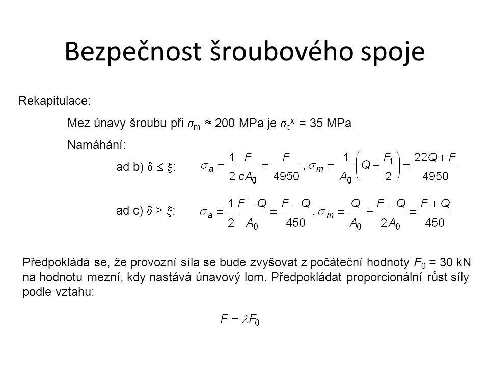 Rekapitulace: Mez únavy šroubu při  m  200 MPa je  c x = 35 MPa Namáhání: ad b)    : ad c)  >  : Předpokládá se, že provozní síla se bude zvyš
